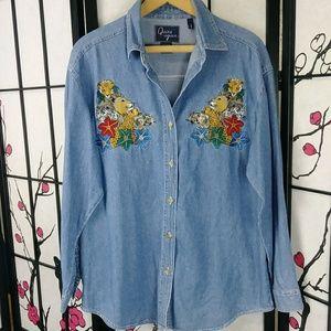 Vtg Quizz Denim Jungle Cat Embroidery Button Shirt